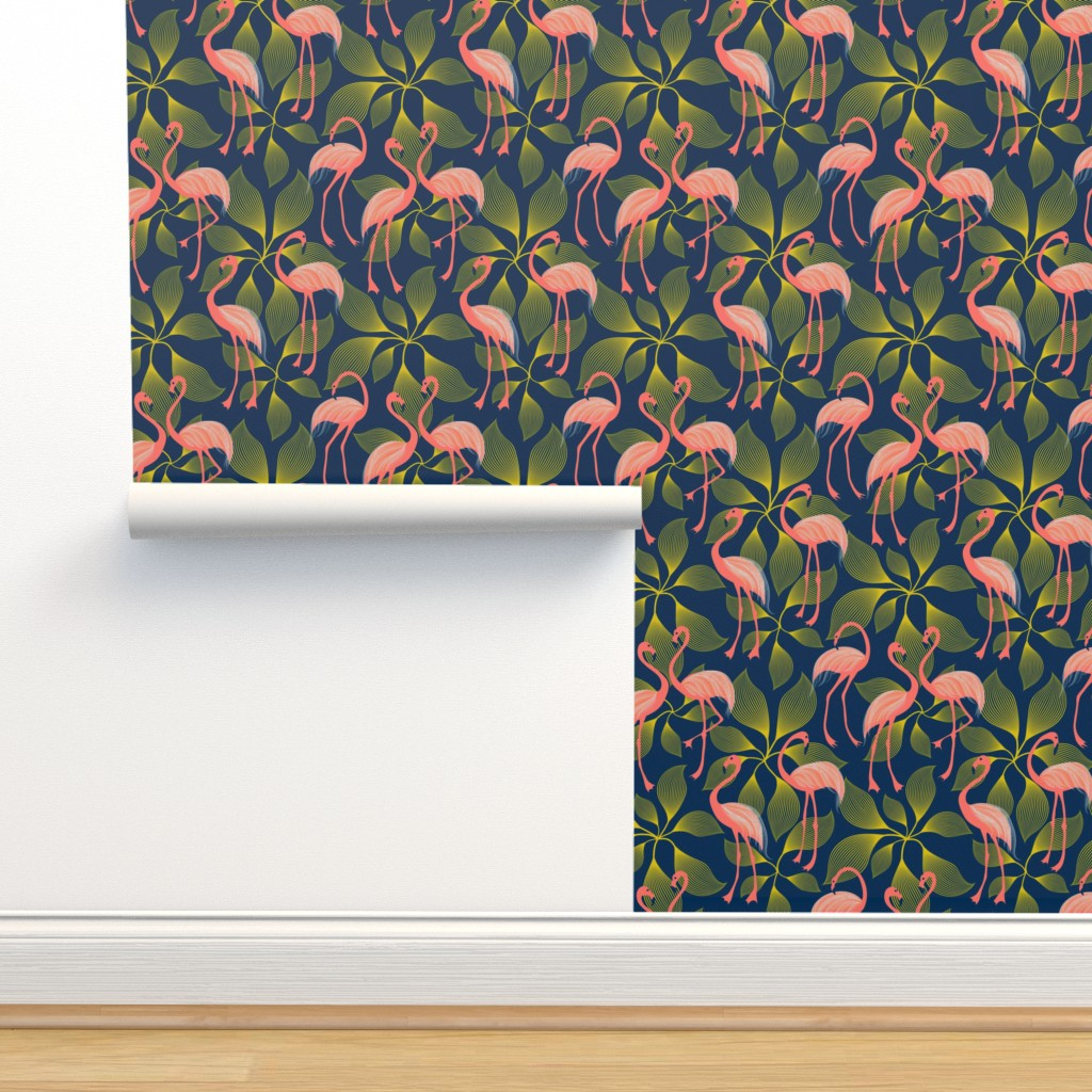 Isobar Durable Wallpaper featuring Fabulous 50's Flamingos by vo_aka_virginiao