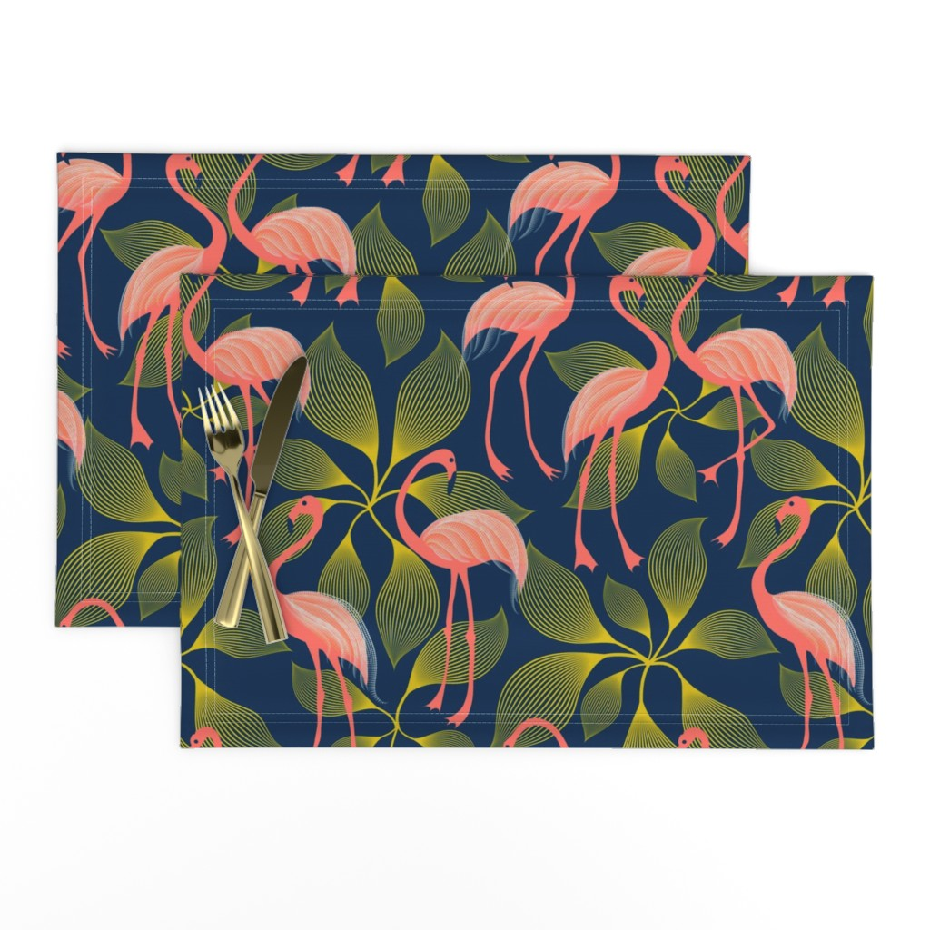 Lamona Cloth Placemats featuring Fabulous 50's Flamingos by vo_aka_virginiao