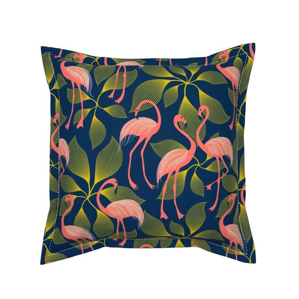 Serama Throw Pillow featuring Fabulous 50's Flamingos by vo_aka_virginiao
