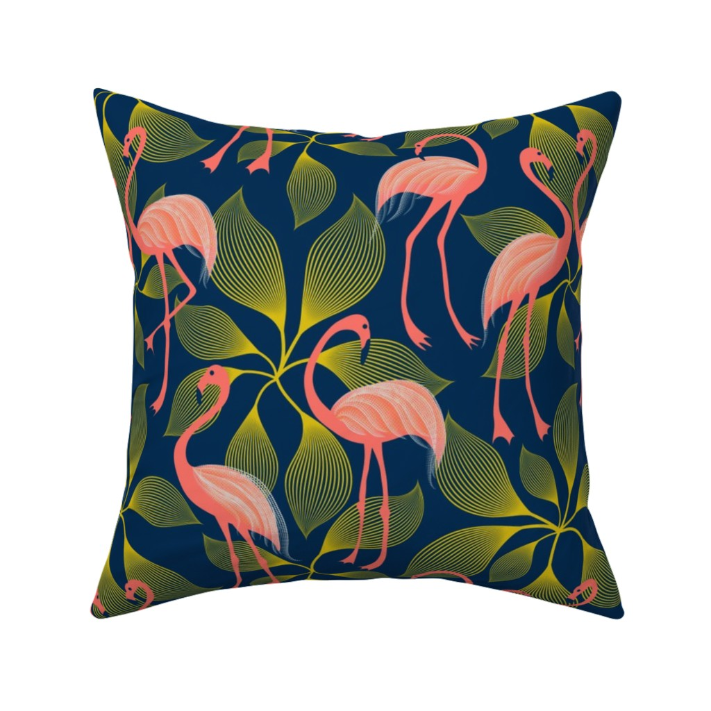 Catalan Throw Pillow featuring Fabulous 50's Flamingos by vo_aka_virginiao