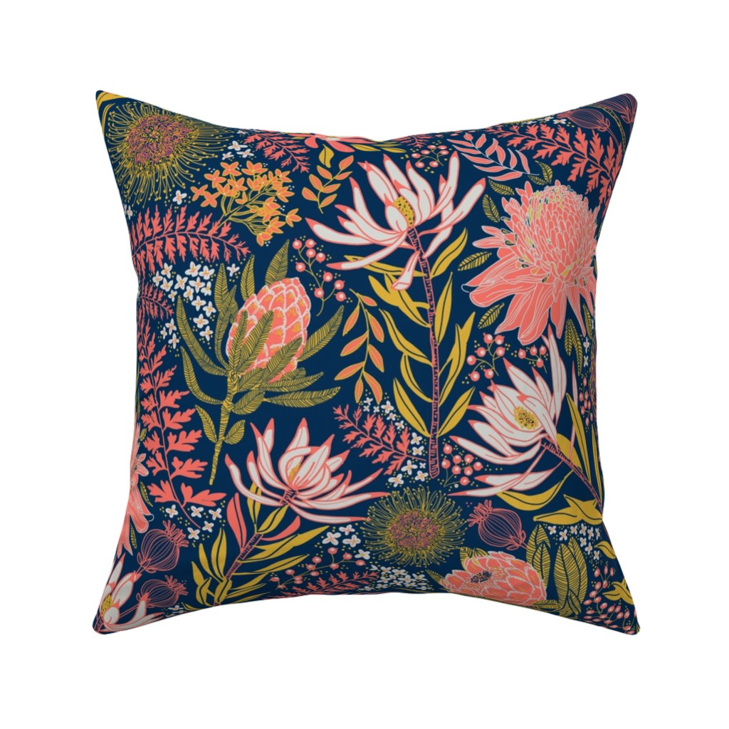 Catalan Throw Pillow featuring Protea Garden by honoluludesigns