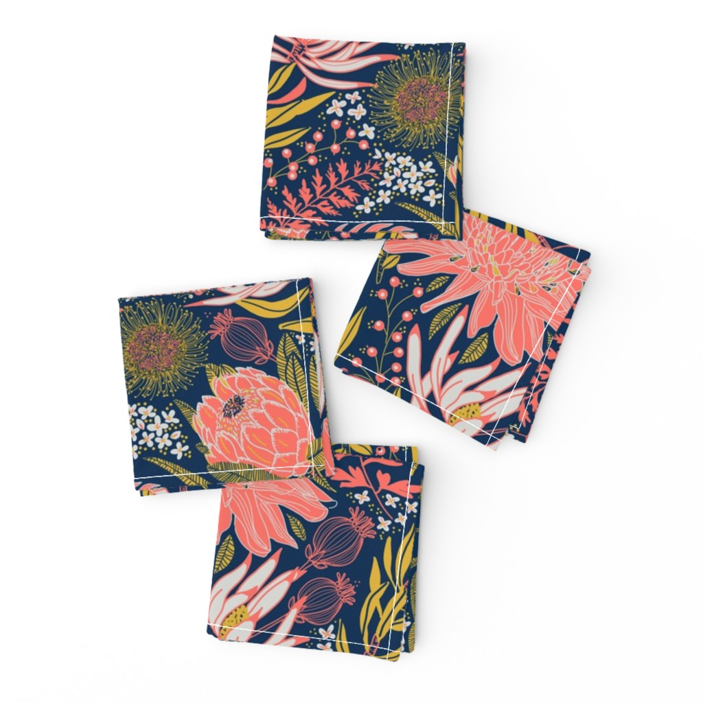 Frizzle Cocktail Napkins featuring Protea Garden by honoluludesign