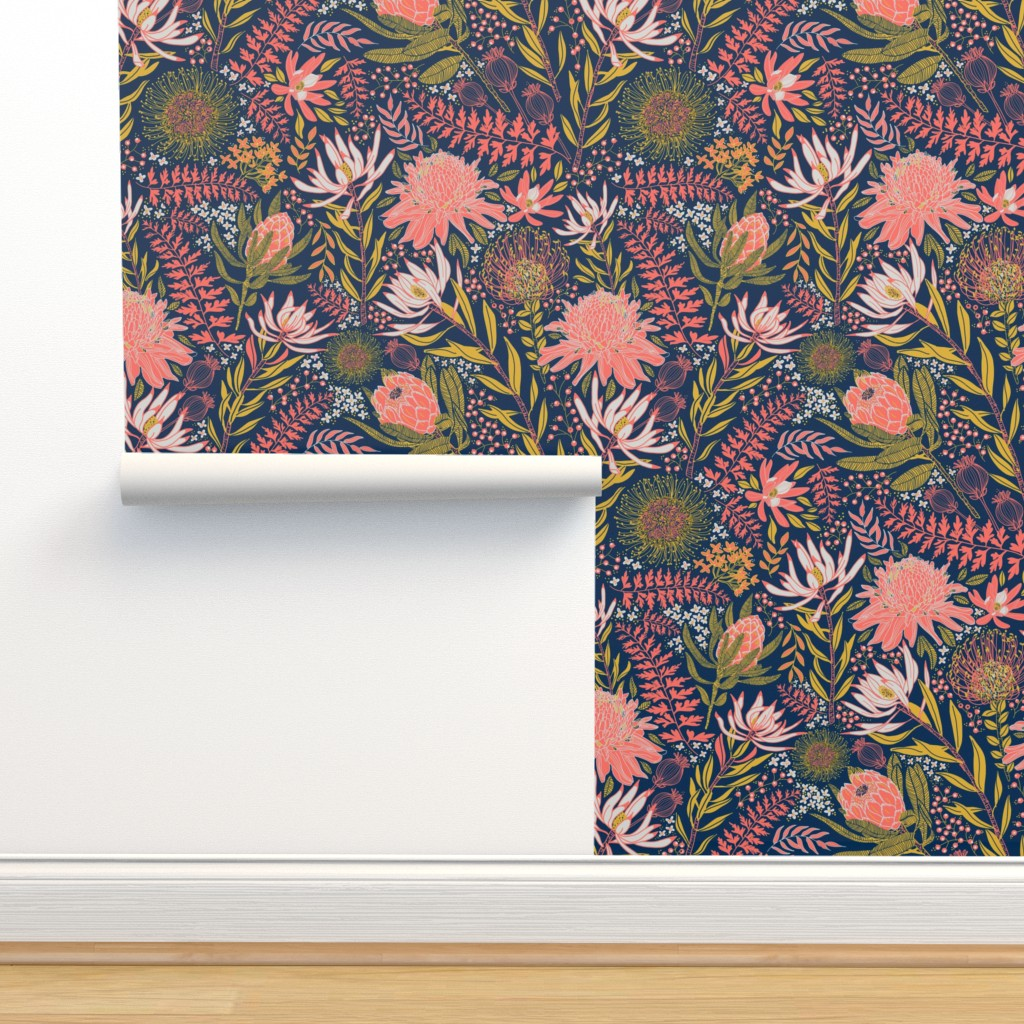 Isobar Durable Wallpaper featuring Protea Garden by honoluludesign