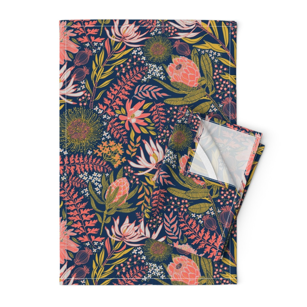 Orpington Tea Towels featuring Protea Garden by honoluludesigns
