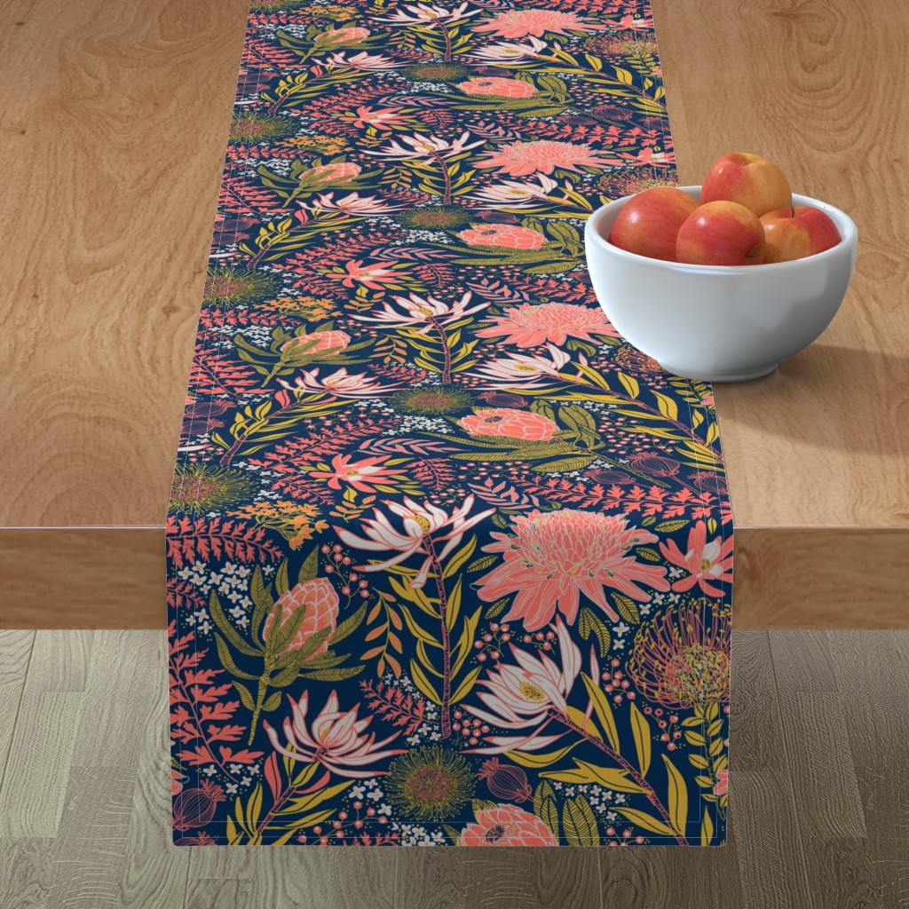 Minorca Table Runner featuring Protea Garden by honoluludesign