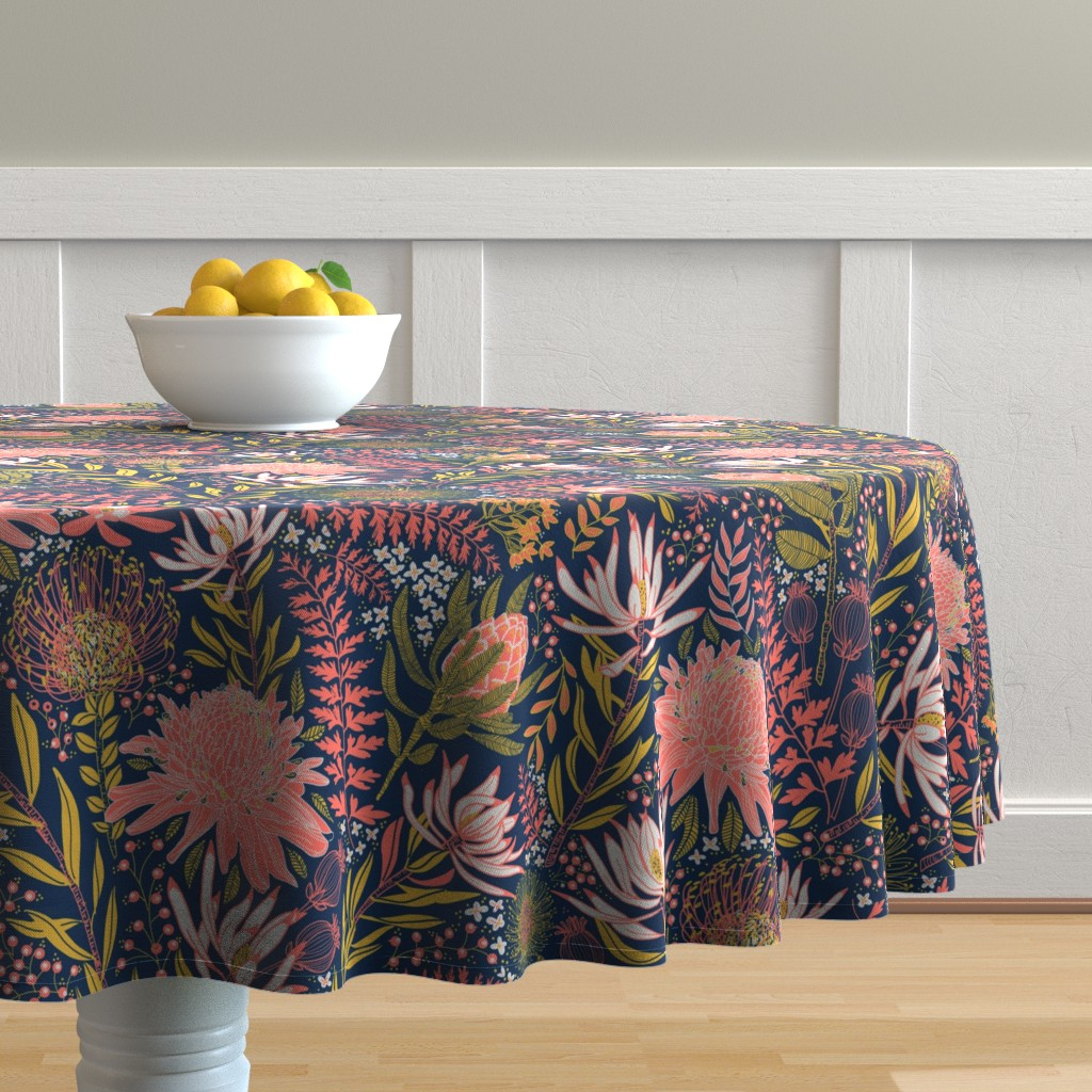 Malay Round Tablecloth featuring Protea Garden by honoluludesigns