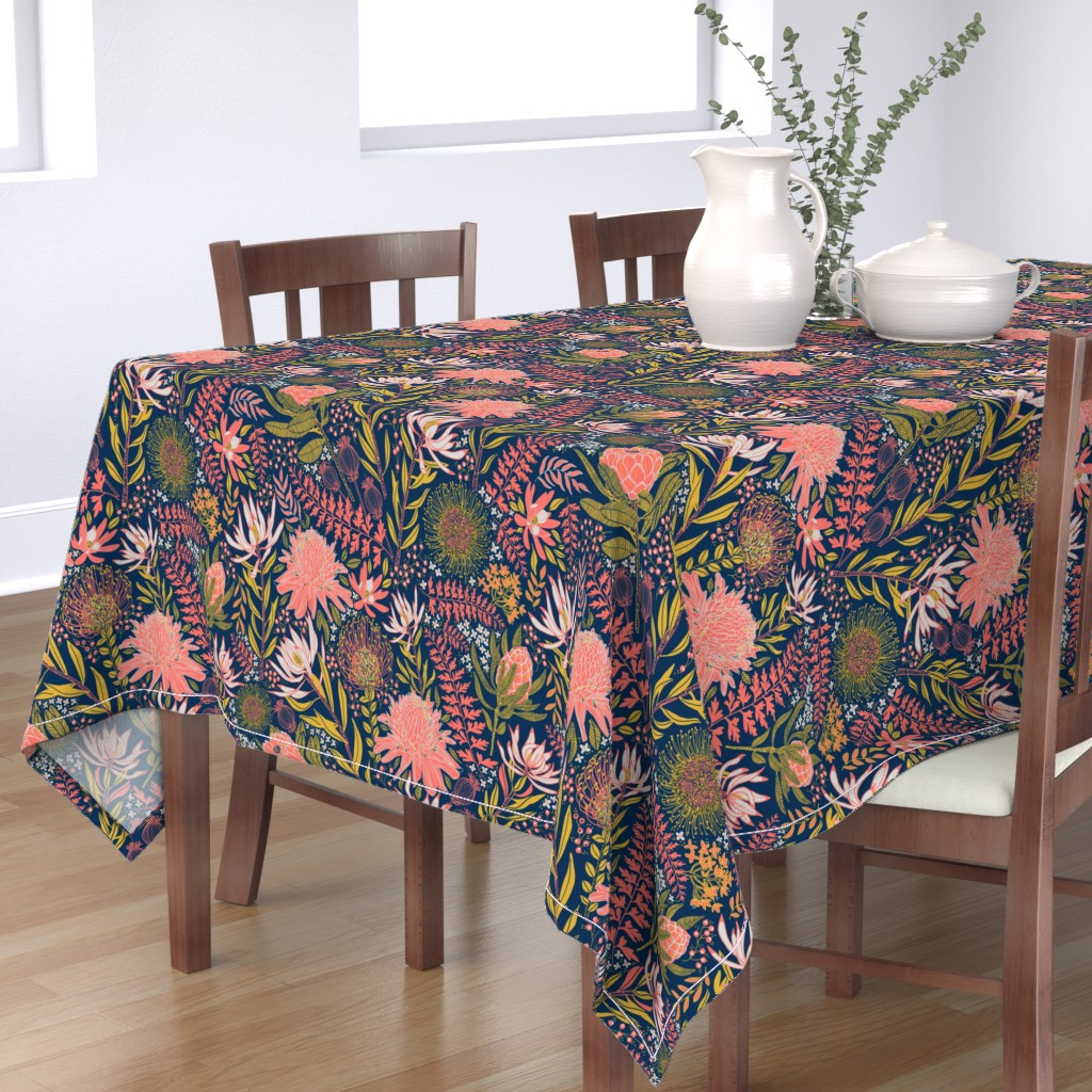Bantam Rectangular Tablecloth featuring Protea Garden by honoluludesign