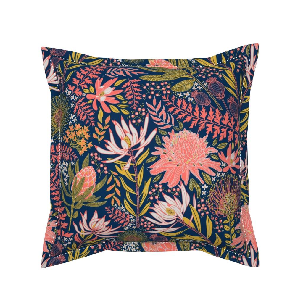 Serama Throw Pillow featuring Protea Garden by honoluludesign