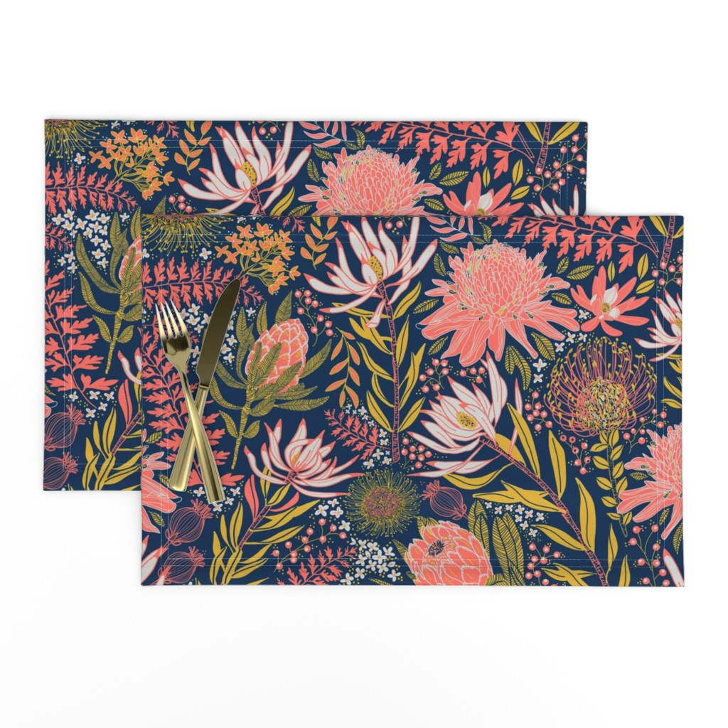 Lamona Cloth Placemats featuring Protea Garden by honoluludesign