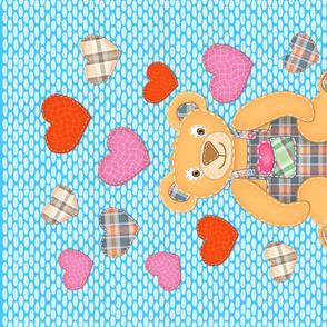 Tea Towel Bear my Valentine