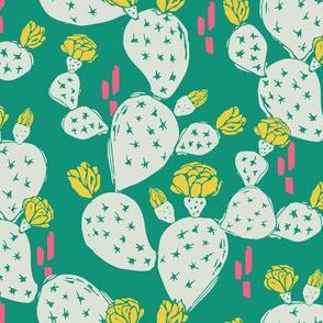 Yellow Flowering Cactus on Emerald