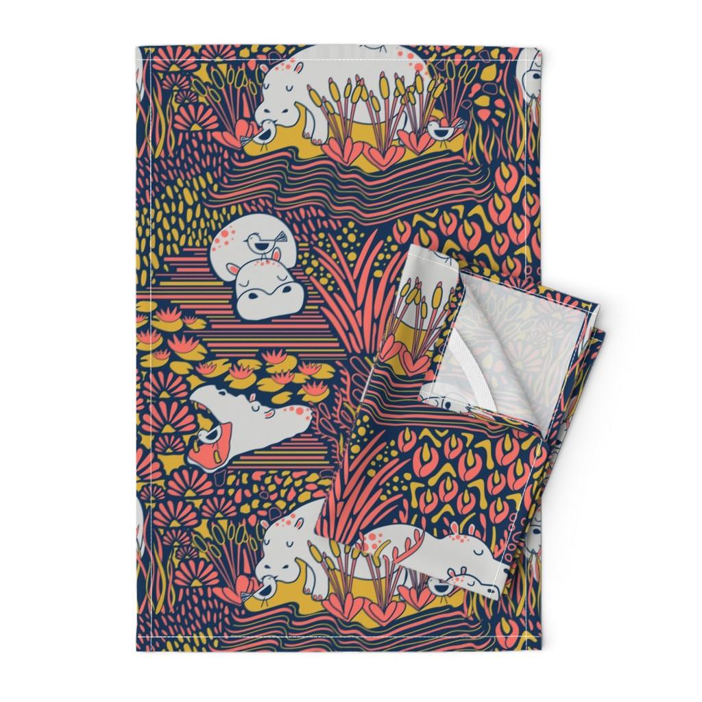 Orpington Tea Towels featuring Happy-potamus Herd by nanshizzle