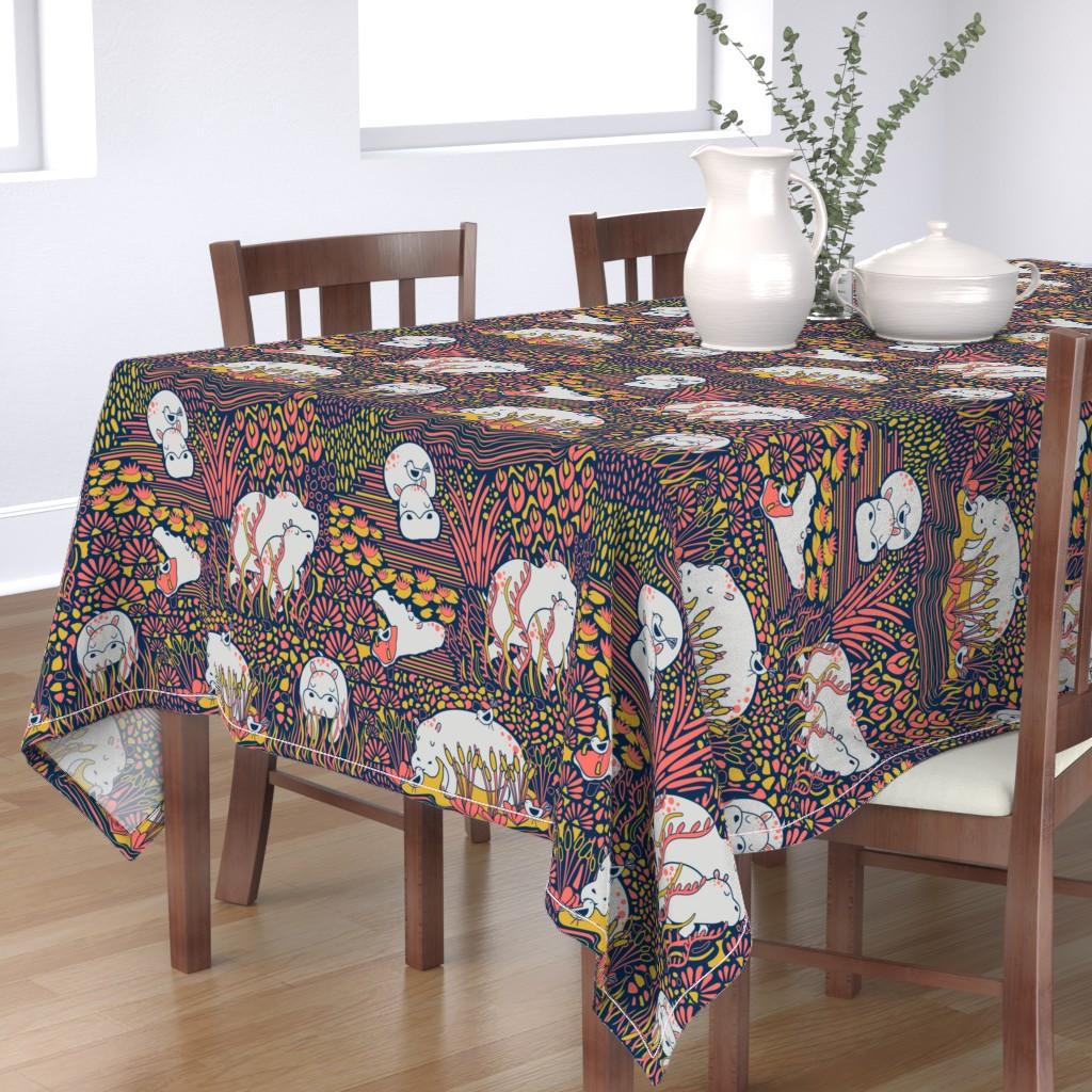 Bantam Rectangular Tablecloth featuring Happy-potamus Herd by nanshizzle
