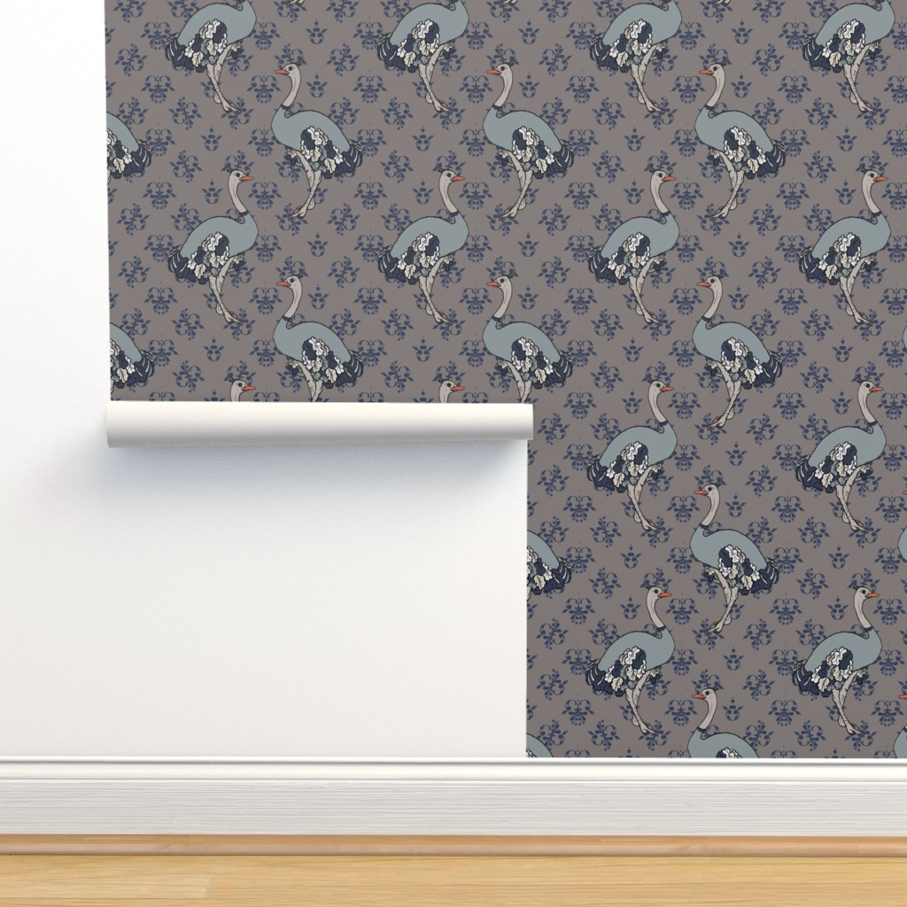 Isobar Durable Wallpaper featuring Ostriches on Parade - Blue by debra_may_himes,_asid