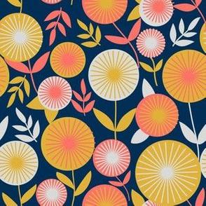 Mustard Flowers Midnight Blue Background