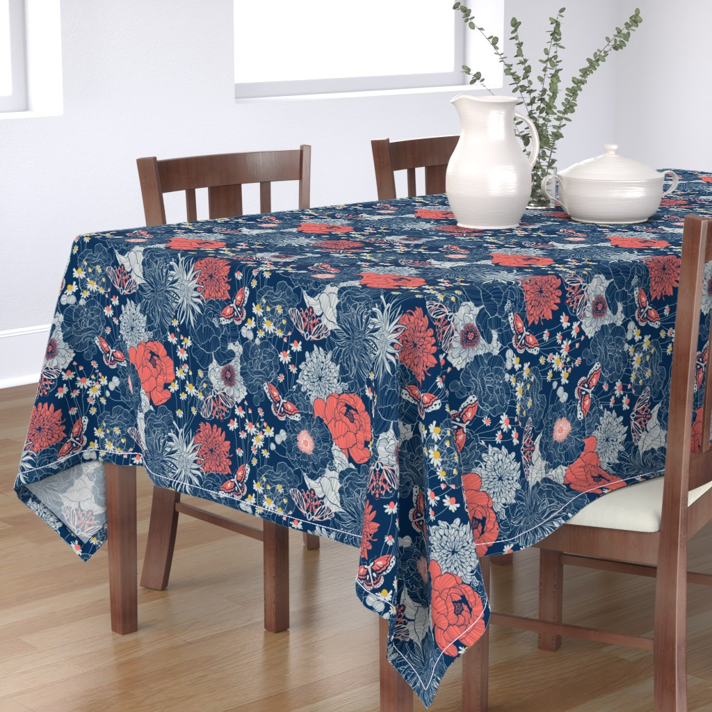 Bantam Rectangular Tablecloth featuring ornamental garden by cjldesigns