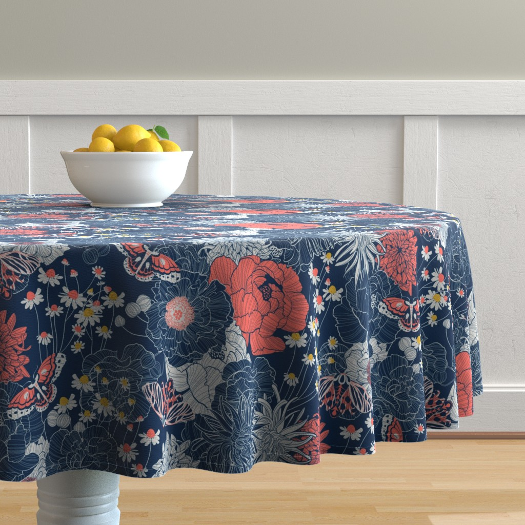 Malay Round Tablecloth featuring ornamental garden by cjldesigns