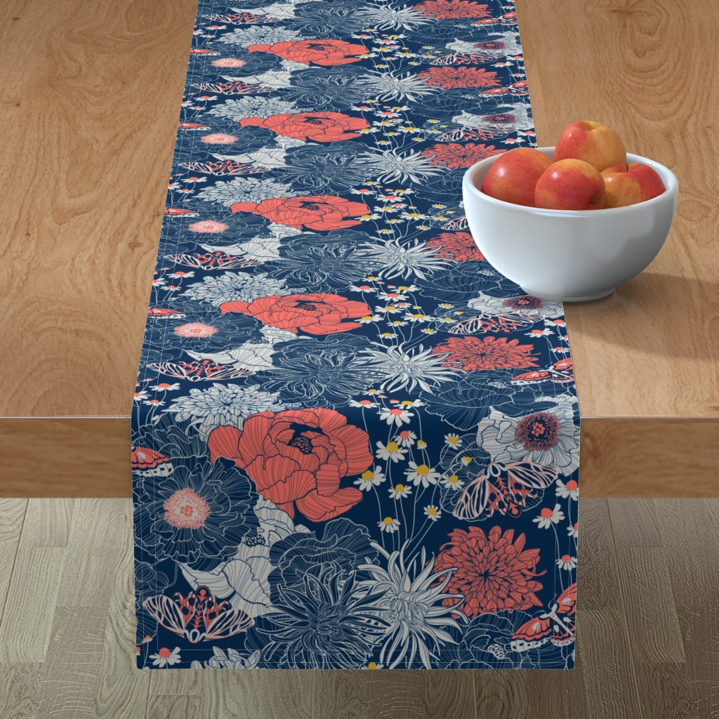Minorca Table Runner featuring ornamental garden by cjldesigns