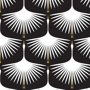 Art Deco Swans - White on Black