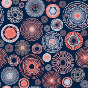 concentric circles | dark blue and coral