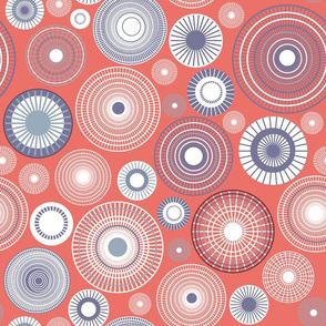 concentric circles coral and violet