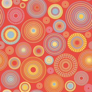 concentric circles  red and yellow