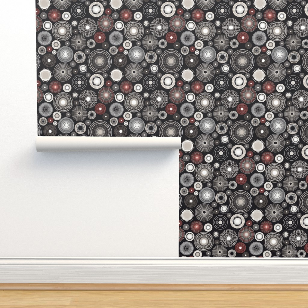 Isobar Durable Wallpaper featuring drunken spider black and coral by colorofmagic