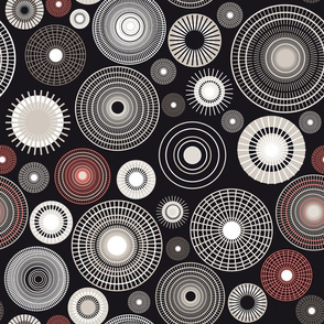 concentric circles | black and coral