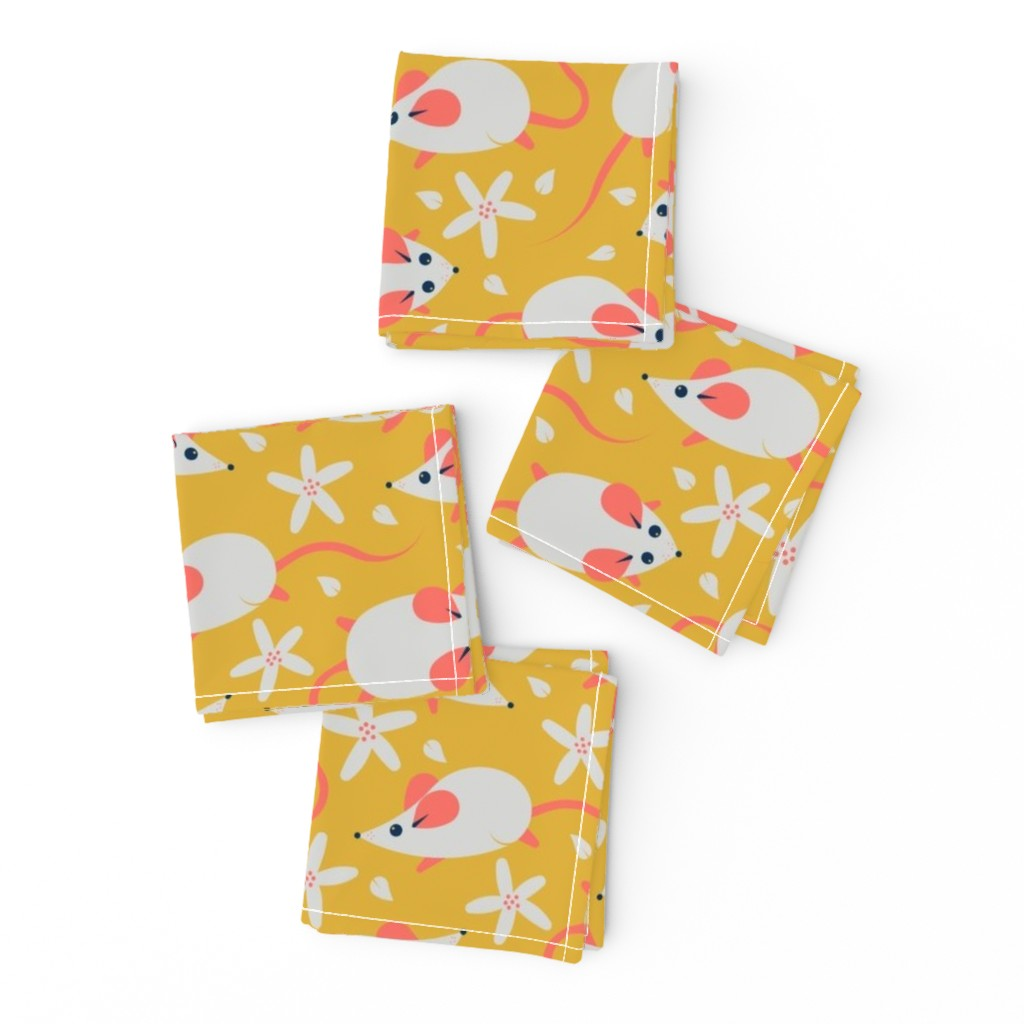 Frizzle Cocktail Napkins featuring mice (grey over goldenrod) by analinea