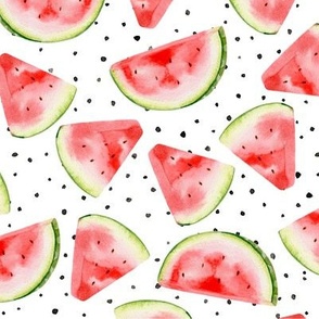 Watercolour Spotty Watermelon Fruit Fabric Wallpaper Seamless Repeat Pattern
