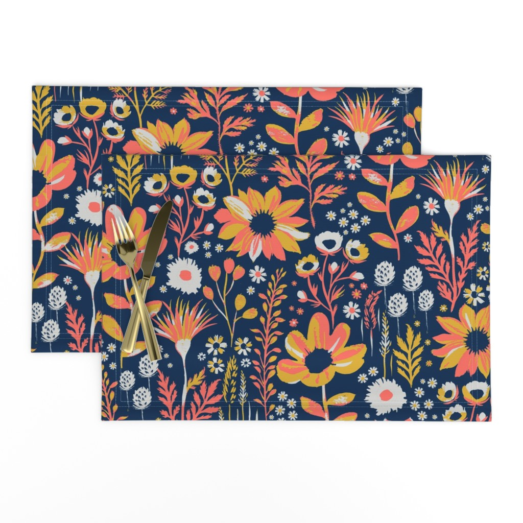Lamona Cloth Placemats featuring Painted Meadow by jill_o_connor
