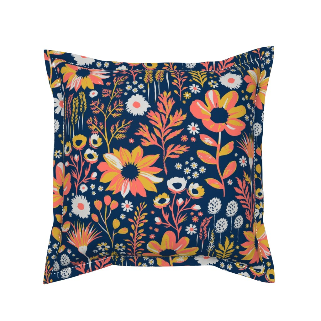 Serama Throw Pillow featuring Painted Meadow by jill_o_connor