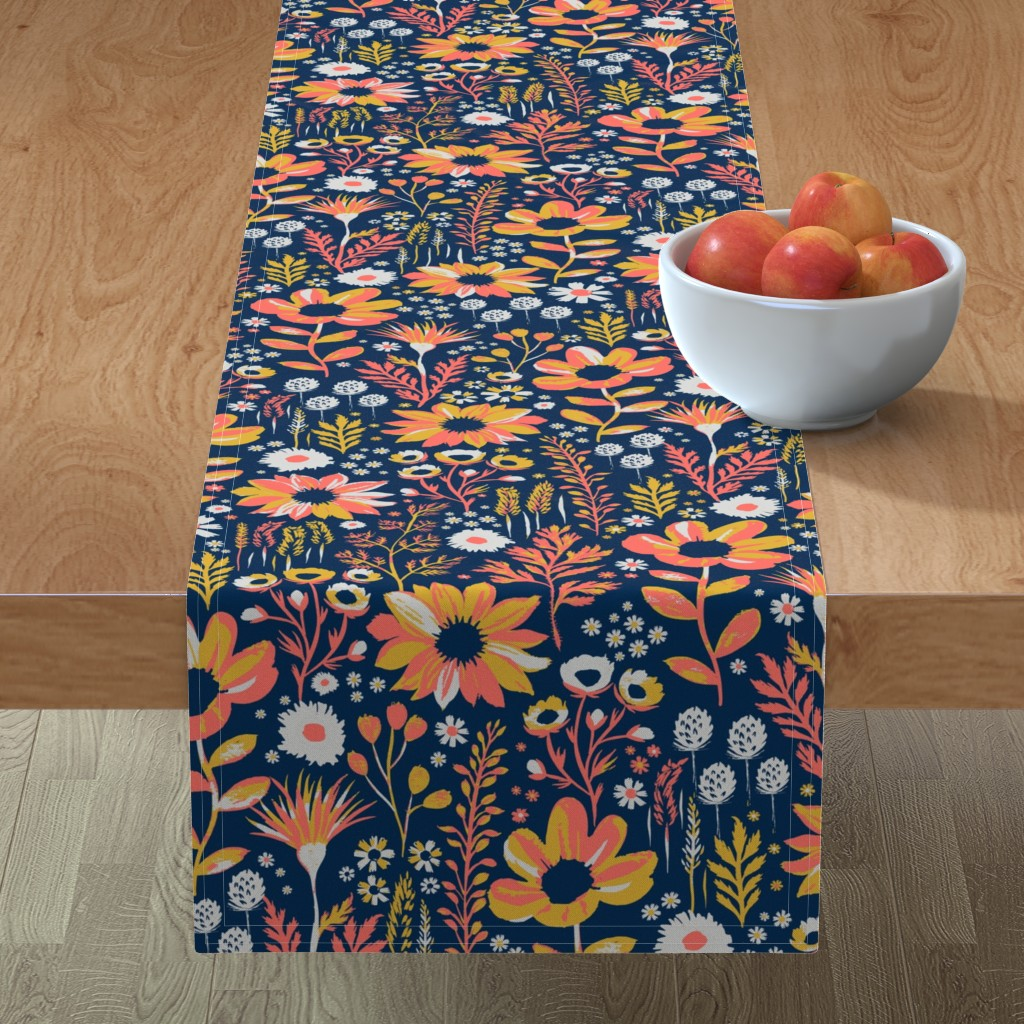 Minorca Table Runner featuring Painted Meadow by jill_o_connor