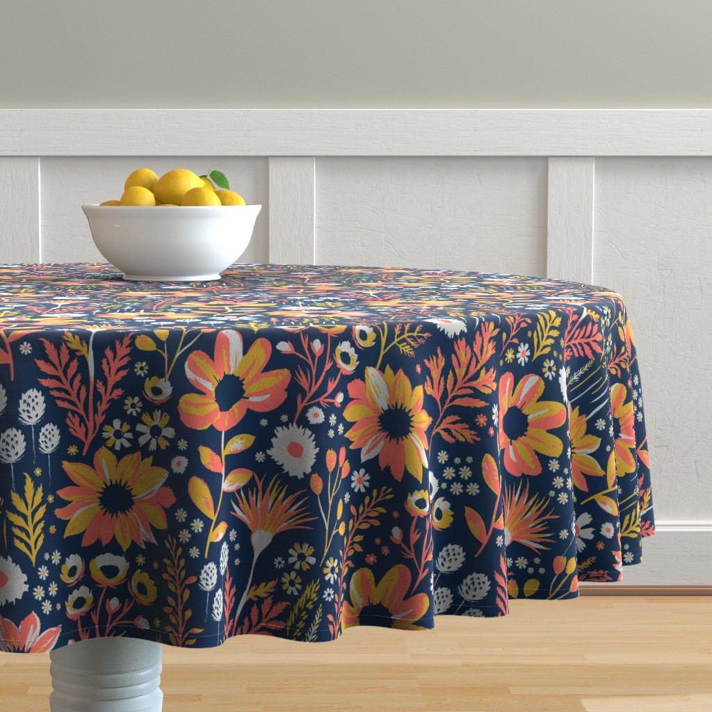 Malay Round Tablecloth featuring Painted Meadow by jill_o_connor