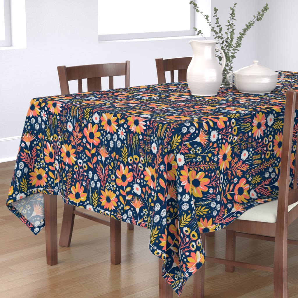 Bantam Rectangular Tablecloth featuring Painted Meadow by jill_o_connor