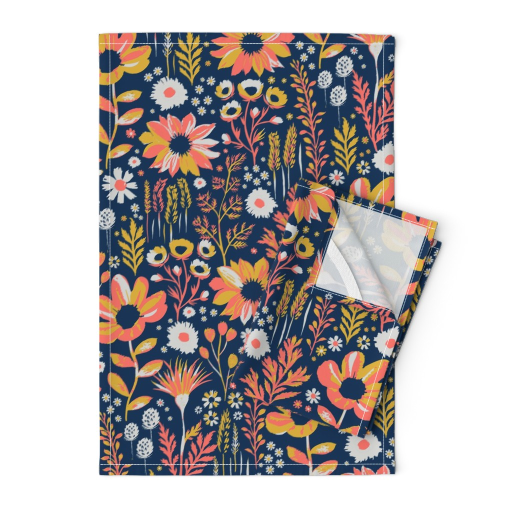 Orpington Tea Towels featuring Painted Meadow by jill_o_connor