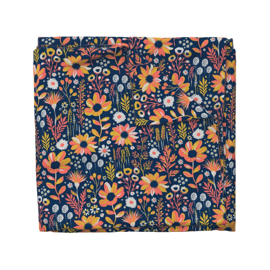 Wyandotte Duvet Cover featuring Painted Meadow by jill_o_connor