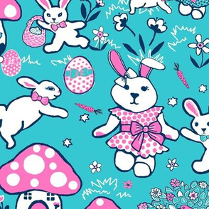Easter rabbits, easter eggs, woodland rabbit paradise
