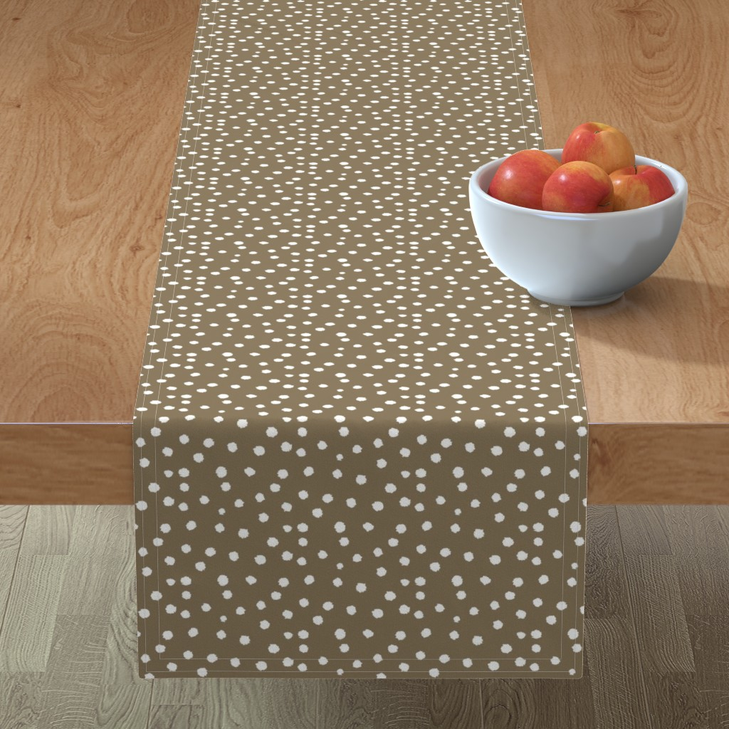 Minorca Table Runner featuring Painted Polka Dot //Cappuccino  by theartwerks