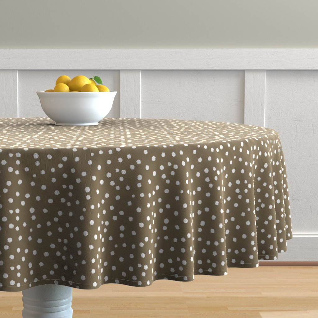 Malay Round Tablecloth featuring Painted Polka Dot //Cappuccino  by theartwerks