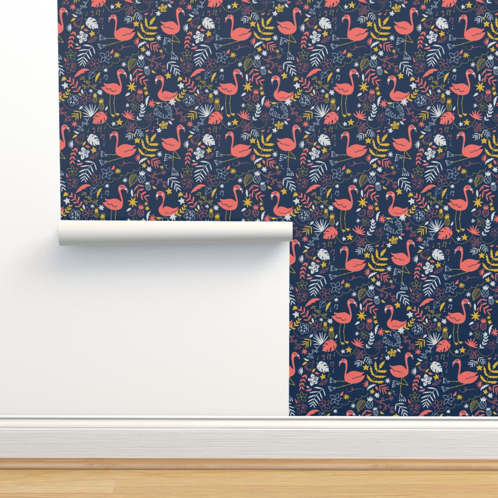 Isobar Durable Wallpaper featuring Let's  flamingo to the 80's by natalia_gonzalez