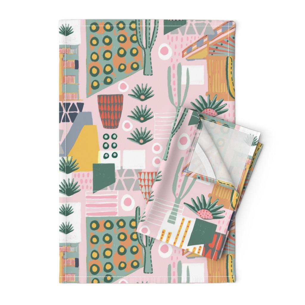 Orpington Tea Towels featuring Desert Home Landscape by slumbermonkey