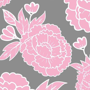 Peony Garden - Light Pink Flowers on Grey