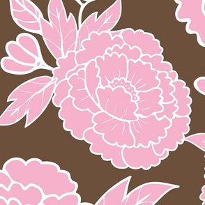 Peony Garden - Pink Flowers on Brown