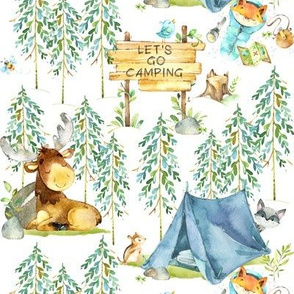 Camping Adventure - Woodland Moose, Fox, Raccoon