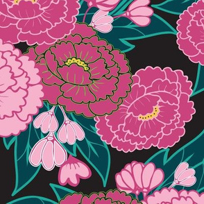 Peony Garden - Pink Flowers on Black
