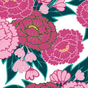 Peony Garden - Pink Flowers on White