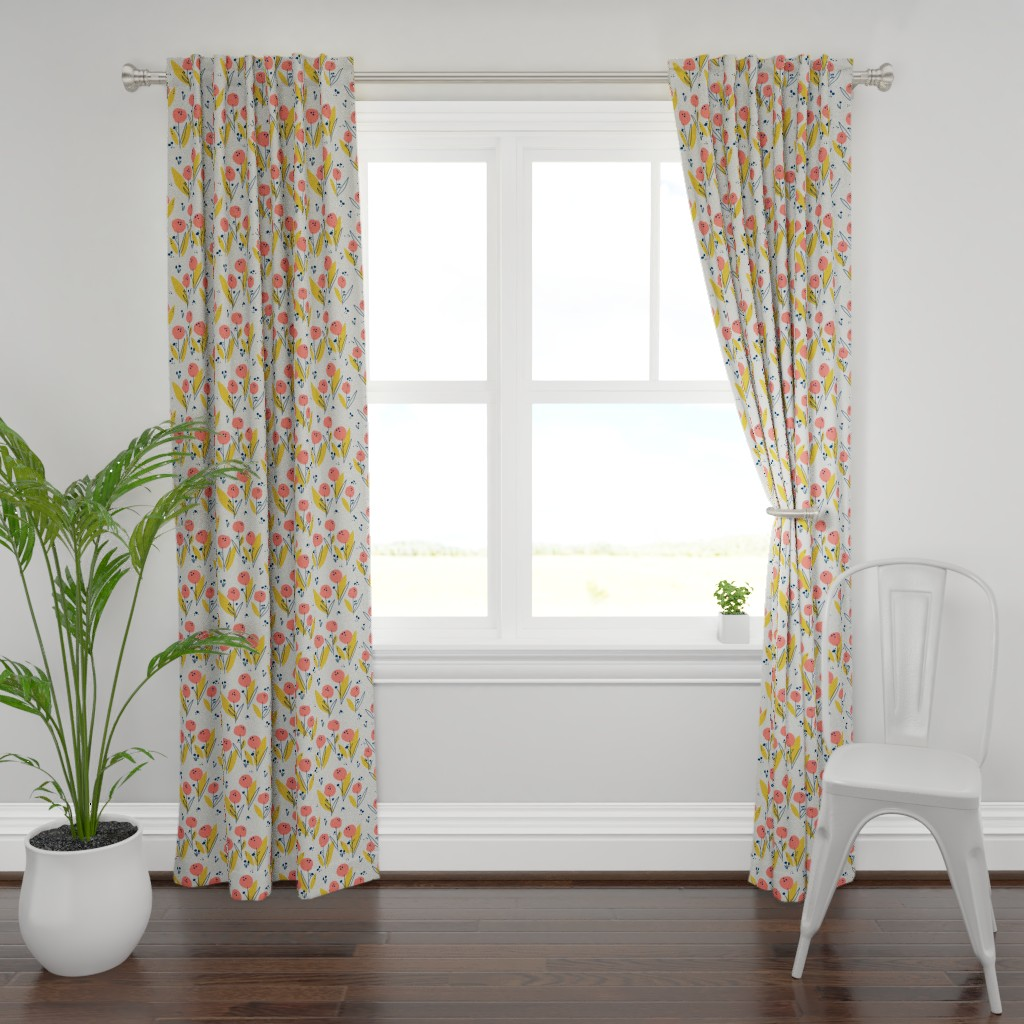 Plymouth Curtain Panel featuring Poppy Meadow Coral by petras_patterns