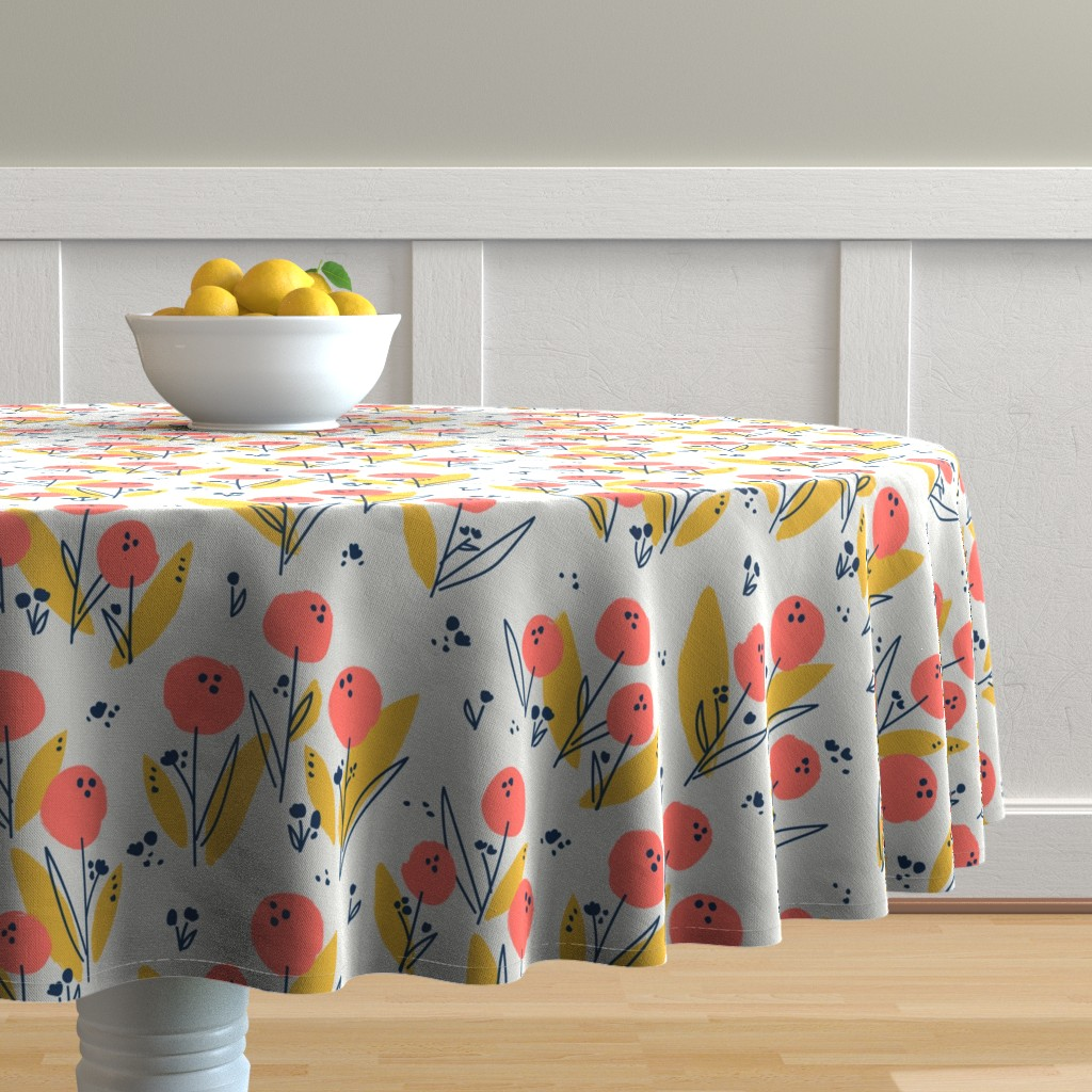 Malay Round Tablecloth featuring Poppy Meadow Coral by petras_patterns