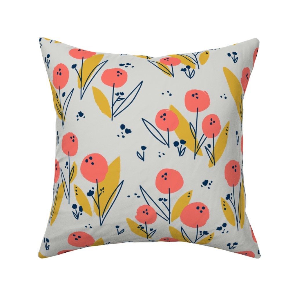 Catalan Throw Pillow featuring Poppy Meadow Coral by petras_patterns